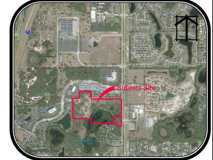 Outlined in red is the 37-acre site north of Lake Emma that is targeted by Pulte Group for development.