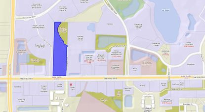 Highlighted in blue is the Benderson Development-owned parcel on the corner of University Boulevard and Technological Avenue, a mile west of UCF. The new hotel would be built in the center of the parcel, north of an existing retail center.