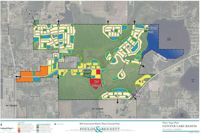 This conceputal master plan highlights a central park and lakefront park, relocates the K-8 school (red) and concentrates all of the N2 residential development (yellow) along major roadways. Multifamily development is required in community center (orange) and in N2 neighborhoods.