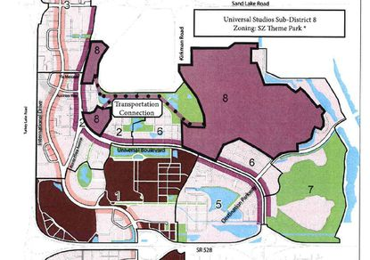 Outlined in black and shaded in light purple is property Universal Orlando now owns through an affiliate, and has proposed be designated as its own, new 8th subdistrict within the I-Drive Development Code, with Special Zone designation for a theme park.