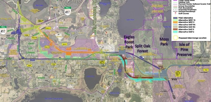 The previous route for the Osceola Parkway Extension is shown in purple. Consultants for CFX are looking to shift the toll road east of Boggy Creek Road. The firm is considering two western alignments that go through Medical City and the Poitras Property, and four potential eastern alignments that would terminate at Phase 1 of Sunbridge. All would have a reduced or minimal impact to the Split Oak Forest nature preserve.