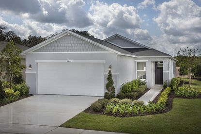 One of the single-family homes within KB Home's recently opened Landings at Riverbend community.
