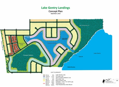 A preliminary site plan for Lake Gentry Landings calls for nearly 700  homes built around a private lake and marina with access to Lake Gentry.