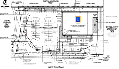 The site plan for a new Aldi Food Market on Curry Ford Road.
