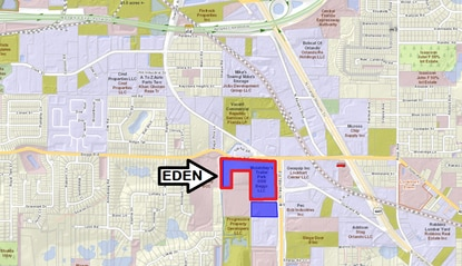 Eden Site Development now owns 20+ acres (blue) north of Orlando and plans to build a new office and warehouse there. The land outlined in red was aquired after the seller rezoned it for heavy industrial uses.