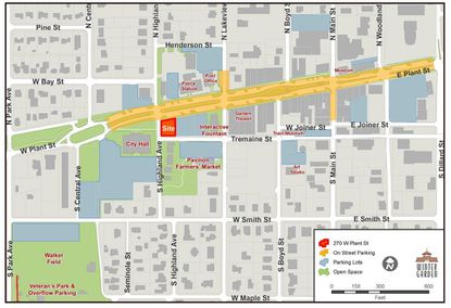 Highlighted in red is the city-owned property on W. Plant Street under consideration for sale.