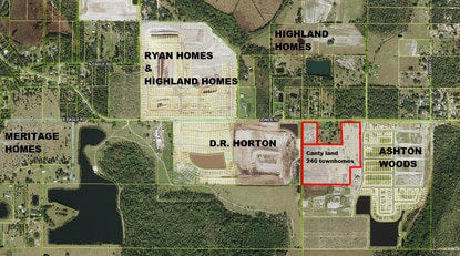 Developer Bill Canty recently purchased 34 acres on Jones Road and plans to rezone it to build townhomes.