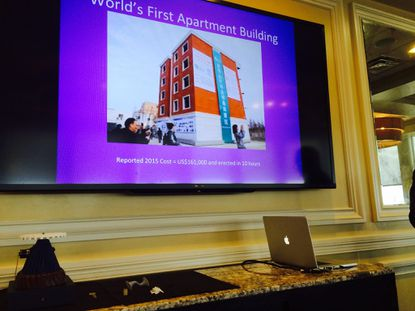 NAIOP Central Florida members were shown slides Thursday of an apartment building in China made completely from materials that were employed using 3D printing.