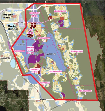 Tavistock Development Company has filed a Concept Plan for Phase 2 of Sunbridge in Osceola County's Northeast District. Construction is underway now at Weslyn Park, which is slated to open in October.