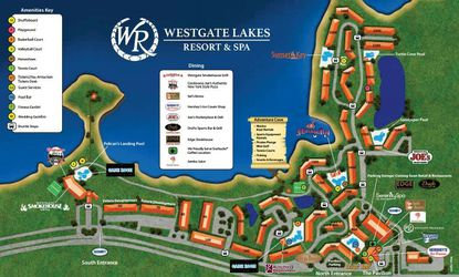 "In this overview map for Westgate Lakes Resort, new buildings 60 and 70 can be seen in the lower left, with the white label ""Future Development"" above them. The property's main sales building and new parking garage can be seen in the lower right."
