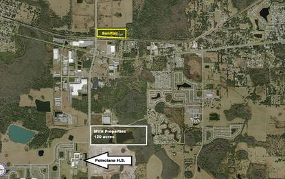 MVP Properties has applied to rezone this 120-acre parcel, outlined in white, for residential development.