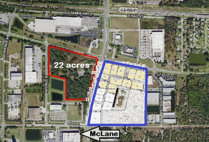 Kissimmee developer Thomas Chalifoux has filed plans for a commercial project a quarter-mile south of the Poinciana SunRail station. The 11 lots in Phase 1 are highlighted.