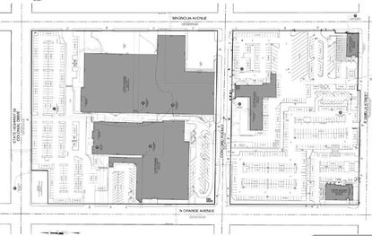 A current site plan for Tribune Media's 18.69 acres on N. Orange Avenue. The image is oriented with East at the top; the northern block of property is on the left, where the Orlando Sentinel offices and printing press are shaded in gray.