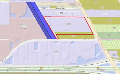 Highlighted in blue are the 10.44 acres owned by Reich Properties along McCoy Road, and outlined in red is property owned by used auto dealer Off Lease Only, fronting Narcoossee Road.