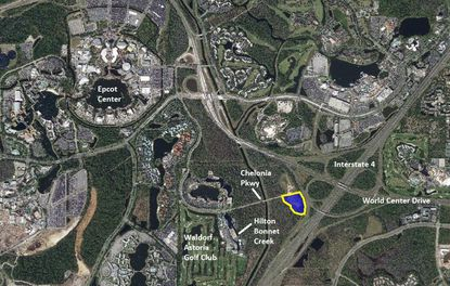 Outlined in yellow is a 10.6-acre parcel being planned for a new luxury resort, located at the end of Chelonia Parkway within the Bonnet Creek Resort Community Development District. The hotel would have frontage on I-4, and quick access to Disney parks.