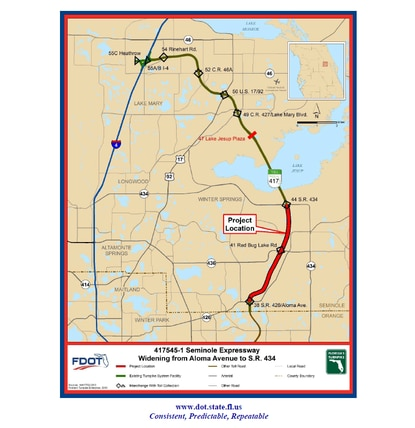 The MetroPlan Orlando board is considering pulling FDOT's planned widening for S.R.417 from the agency's Transportation Improvement Program - a move that could kill the $170 million project. The 6-mile express lanes are shown in red.