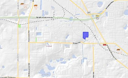 Highlighted in blue is the property at 3401 Overland Road, southeast of Apopka, where Republic Services is proposing a new recycling facility.