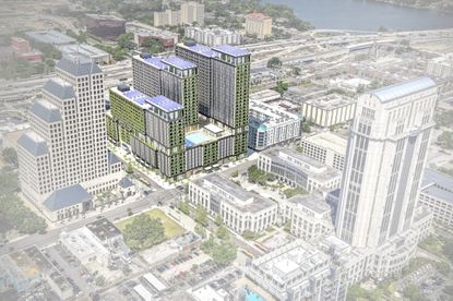 This updated aerial rendering of the tri-tower X Orlando mixed-use development at 434 N. Orange Ave. shows potential green living walls on the buildings and solar panels on the rooftops. This rendering is newer than Orlando's ARB courtesy review material.