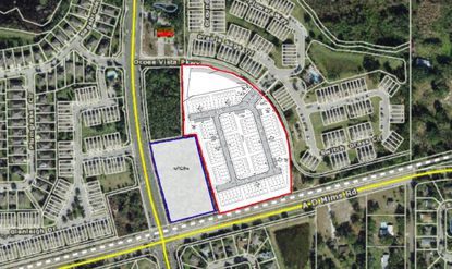 Highlighted in red is a conceptual preliminary subdivision plan for townhome community proposed along AD Mims Road in Ocoee. Highlighted in blue are the acres retained by the city for commercial use.