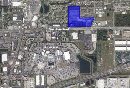 Highlighted in blue is the 26-acre retail center recently acquired by Discovery Church on Sand Lake Road, north of the Florida Mall.