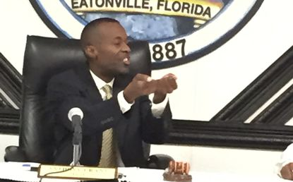 Eatonville Mayor Anthony Grant at a recent town council meeting to talk about the I-4 property.