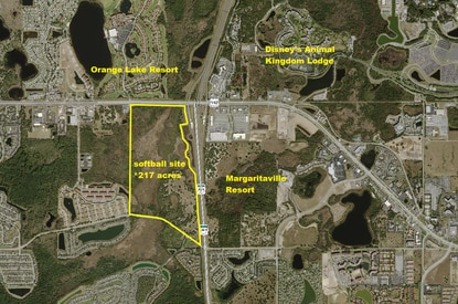 A New York developer is negotiating a public private partnership with Osceola County to build and operate a softball and soccer complex in the tourism corridor, potentially on this 217-acre parcel near Margaritaville Resort.