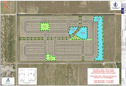 An actual covered bridge (orange) highlights the site plan for CBD's 256-lot subdivision at the corner of 30th Street and Roe Road in Haines City.
