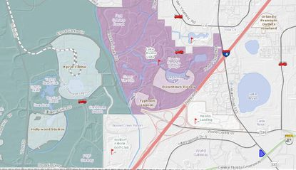 The parcel highlighted in blue (lower right) is at 14990 S.R. 535, south of S. International Drive, Lake Bryan and southeast of the Disney park properties.