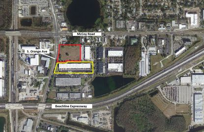 Outlined in red is the site planned for two new flex-industrial buildings along S. Orange Avenue, northwest of Orlando International Airport. To its south (yellow) is the project's Phase 1 multi-tenant warehouse.
