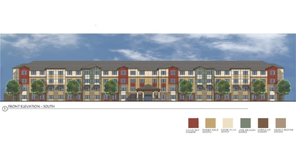 This architectural rendering shows the front of the Georgetown Square apartments, an age-restricted apartment community being built in Sanford by the Orlando/Sanford Housing Authority.