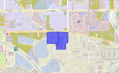 Highlighted in blue are the Oak Forest Apartments properties on Old Winter Garden Road in south Ocoee, which lie directly west of Health Central Hospital.