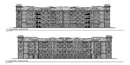 Elevations of the proposed multifamily buildings set to rise at 10900 Turkey Lake Road.