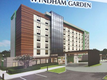 An early rendering of the proposed Wyndham Garden hotel planned on American Way, off of N. International Drive.