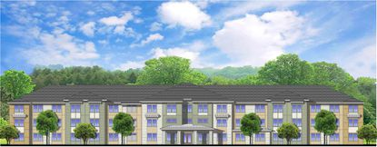 Partial front elevation of the planned Warley Park apartments in Sanford, proposed as affordable housing with a high number of units reserved for the chronically homeless.