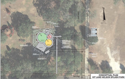 An aerial layout of the planned splash pad at Apopka's Kit Land Nelson Park, at First Street and Forest Avenue.