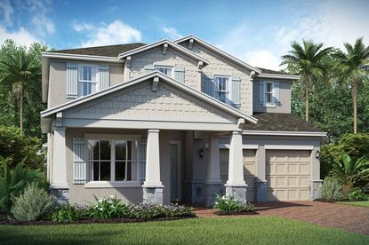 A rendering of a two-story, five-bedroom home in K. Hovnanian's Winding Bay community in Horizon West.