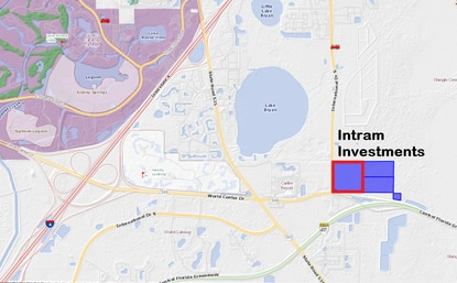 Intram Investments has assembled 80+ acres of vacant land at the International Drive - Central Florida Greeneway interchange. The parcel outlined in red was acquired this week for $13 million.