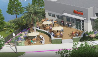 Maitland Fitness features a waterfront people's plaza leading into an outdoor dining area.