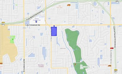 Highlighted in blue, the 16-acre shopping center anchored by Publix lies on Lake Underhill Road, less than a mile east of Florida Hospital's east campus.