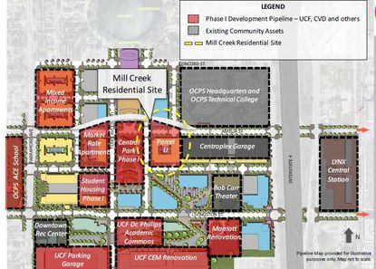 Circle in yellow is the 1.7-acre Parcel U in downtown Orlando's Creative Village district, which is under contract with plans for a market-rate multifamily development.