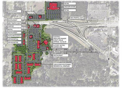 Early plans call for 207,000 square feet of dining, retail, hotel and office space at the Apopka City Center.