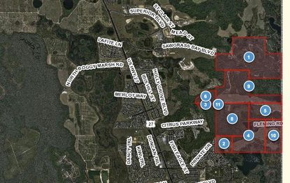 Highlighted in red is the property planned for Avalon Groves in Lake County's Wellness Way area.