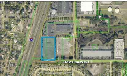 Outlined in blue is the 4.6-acre site in Suntech Commerce Park in Lake Mary, at the end of Emma Oaks Trail, where McCraney Property Co. plans a new industrial building.