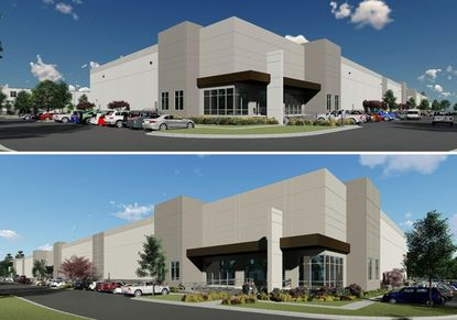 Renderings for the two buildings planned at JDA's South Orange Avenue Logistics Center.
