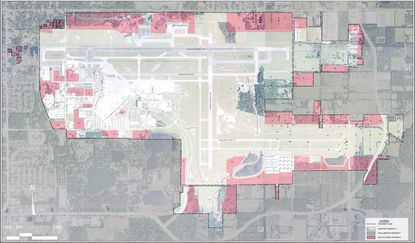 Pink highlighted area shows the developable land on the Orlando Sanford International Airport campus in Seminole County.