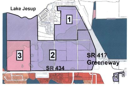 Above: the whole of the GID. Areas 1 and 2 comprise roughly 186 buildable acres held by two landowners. Each, say city planners, is on board for development ideas. Area 3, on which apartment construction is already underway, has another 10 acres of commercial that will soon be up for sale.