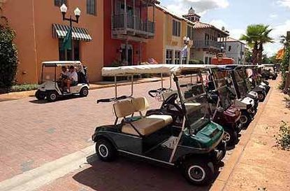 Golf carts are the preferred mode of transportation in retirement communities like Polk County's Solivita, shown here.