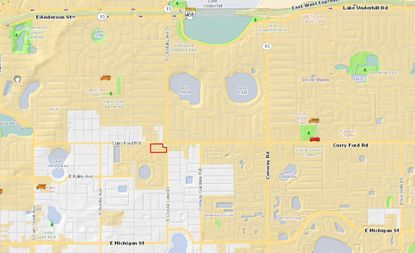 Highlighted in red on the map, Crystal Lake Plaza shopping center is located at 2950 Curry Ford Road, on the corner with S. Crystal Lake Drive and south of Orlando Executive Airport.