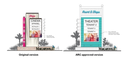 The developer of Margaritaville Resort in Kissimmee redesigned the 50-foot entertainment signs after members of the Architectural Review Board asked for something more tropical.
