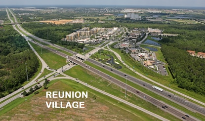 Reunion Village is a 106-acre mixed-use development at the C.R. 532 - I-4 interchange, across from downtown ChampionsGate.